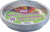 10 x ROUND FOIL FLAN DISHES - 180mm x 25mm disposable tray.