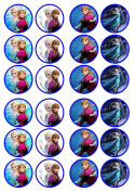 Frozen Sisters Edible PREMIUM Wafer Rice Paper 24 x 4.5cm Cupcake Toppers