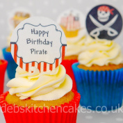 Pirate Cupcake Toppers - PRE-CUT - Edible Wafer - 4cm x 24