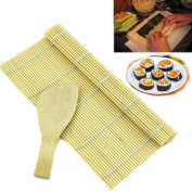 HeroNeo® New Sushi Rolling Maker Bamboo Material Roller DIY Mat and A Rice Paddle