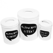 ALL YOU NEED IS TEA / COFFEE / SUGAR Kitchen Canisters - Set of 3 Nesting Caddies