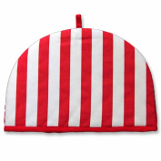Homescapes Double Design Tea Cosy Thick Stripes Red Muff Teapot Warmer 100% Cotton