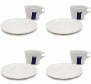 4 X Lavazza Cappuccino/Coffee/Americano/ Porcelain Cups and Saucers-Capacity cc 300, height mm 78