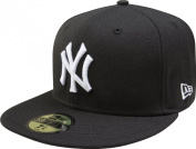 New Era Mlb New York Yankees Black With White 59Fifty Fitted Cap, 7 5/8