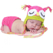 Baby Girl Crochet Sleepy Owl Hat Beanier and Nappy Nappy Cover Outfit Costume Photo Props