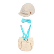 Orien Cute Handmade Knit Crochet Hat Shorts Bowknot Photo Prop Newborn Photography Beanie Cover Costume Set Blue & Beige