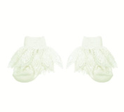 Baby Girls Cute Lacey Crochet Plain Frilly Socks - Cream/Ivory
