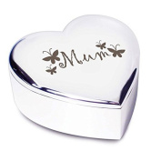 Silver Finish Mum Butterflies Heart Shaped Trinket Box - Great for Birthdays, Christmas and Mothers Day - Show You Care with this Special Gift