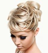 SCRUNCHIE HAIR EXTENSION ASH BLONDE MIX FULLER SCRUNCHIE UP DOWN DO SUPER SPIKY TWISTER