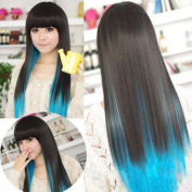 Hot style Black+Blue colour womens lady sexy straight wigs cosplay long hair