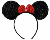 Sparkly Shimmering Black Red Sequin Bow Minnie Mouse Disney Fancy Dress Party Ears Headband