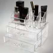 H & S - Acrylic Clear Make up Organiser Cosmetic Box - 2 Drawers