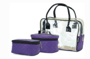Set 3 Beauty Boxes Make up Vanity Cases Cosmetic Bags ***Pink*Purple*White*Black*Chestnut***