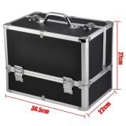 Popamazing Aluminium Beauty Cosmetic Vanity Case Box for Pro Make Up/Nail Art/Travel/Storage