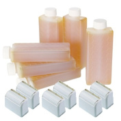 Hive 6pcs Refill Roller Depilatory Roll on Roller Cartridges Warm Honey Creme Wax 80g with 6pcs Large Roller Heads CODE