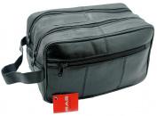 MEN'S GENUINE LEATHER TRAVEL OVERNIGHT WASH GYM TOILETRY BAG (BLACK) - 3520