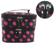 Black Polka Dot Double Layer Case Travel Toiletry Cosmetic Makeup Bag With Mirror