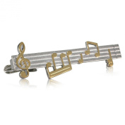 Tie Clip / Tie Bar / tie pin LINDENMANN, silvery, sheet of music, with gift box, 992