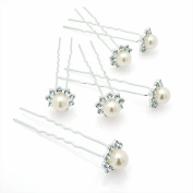 GIZZY® Set of 6 Silver Effect Hair Pins with Large Pearlised Beads