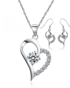 Sterling Silver Half Filled With Cubic Zirconias Open Heart Pendant Necklace & Earrings Set, Great Gift For Women