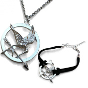 Movie Jewellery. Mocking bird Pendant Necklace and Matching Bracelet on Black Double Cord Strap
