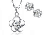 Sterling Silver Cubic Zirconia Blossom Flower Earrings and Pendant Necklace Set