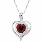 Ornami Sterling Silver Red Clear CZ Surround Heart Pendant with Chain of 46Cm