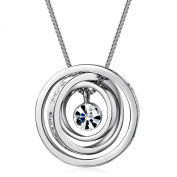 """Mothers Day Gifts MARENJA Gifts For Mum- Boundless Love Engraved with """"Mum,Thank you for all you do."""" and """"I love you Mum"""" Transparent Inlaid Austrian Crystal White Gold Plated 3 Interlinked Rings Pendant Exclusive Design Chain Length 40-45cm/15.7-17.7in"""