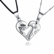 "Sterling Silver Two Piece Heart ""Love You"" Couples Pendant Necklace Set, Cubic Zirconias Accented, Gift Boxed"