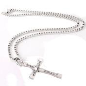 TRIXES Mens Silver Diamante Cross Pendant Chain Necklace
