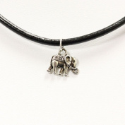 Faciozone Real Black Leather Cord Choker Necklace with Tibetan Silver Charm Pendant [Elephant]