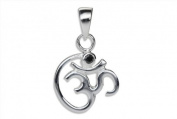 SILBERMOOS Women´s Jewellery Pendant OM Sign with Black Zircon Buddhism Yoga 925 Sterling Silver