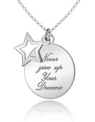 Tuscany Silver 'Never Give Up on Your Dreams' Star and Disc Pendant on Chain Necklace 46cm/18""