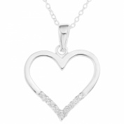 Ornami Sterling Silver CZ Heart Pendant on 46cm Chain