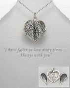 """Sterling Silver Locket - Wing Necklace - Winged Heart Locket Pendant Necklace - Engraved """"I have fallen in love many times....Always with you"""""""