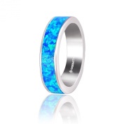 Dormith® women's 925 sterling silver created blue fire opal fashion rings 4mm Rhodium plating