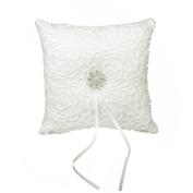 Wedding Ring Pillow Cushion Bearer Satin Rhinestone Flower 15 x 15cm Ivory