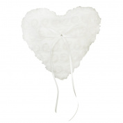 Heart Shape Wedding Pocket Ring Pillow Cushion Bearer Lace with Ribbon 15 x 17cm Ivory