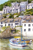 Polperro Boats, Cornwall art print, taken from a watercolour painting by Alex Pointer