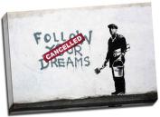 Banksy Follow Your Dreams Graffiti Canvas Art Print Framed Picture Large 50cm x 80cm