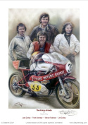 Joey Dunlop, Frank Kennedy, Mervyn Robinson, Jim Dunlop, 'Armoy Armada' Limited Edition Fine Art Giclee Print by Stephen Doig. Only 395 copies.