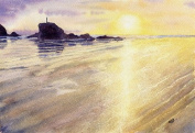 Perranporth Sunset, Cornwall art print from a watercolour painting by Alex Pointer