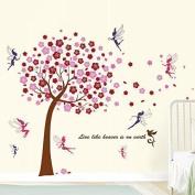 Walplus WS6038 Huge Pink Tree Plus WS5020 Fairies Wall Sticker Combo Pack, Multi-Colour