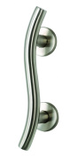 William Hopkins 32 x 600mm Stainless Steel Curved Grab Rail with Conceal Fixing - Satin