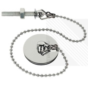Bathroom Basin Plug & Chain in a Shiny Chrome Finish with a Stainless Steel Screw, 33cm