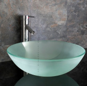Clickbasin Padova Frosted Glass 42cm Diameter Round Countertop Sink