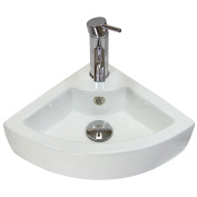 Corner Bathroom Sink Cloakroom Basin White Ceramic Compact & Wall Mounted - With FREE Tap, Pop-up Plug & Waste Kit