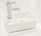 Riaan Super Tiny Mini Small Compact Square Rectangle Cloakroom Basin Bathroom Sink Wall Hung 300 X 185 Left Hand