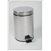 Wehncke Stainless steel waste bin 3 litres - pedal bin for kitchen or bathroom - waste container - trash - garbage container