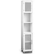 Bathroom cabinet White with satinised glass doors - Tall Cupboard - storage room